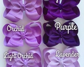 "Purple Bow, Purple Hairbow -- CHOOSE from 6 shades -- Purple, Sugar Plum, Lavender, 3 shades of Orchid  -- 3"" 4"" 5"" or 6"" bow"