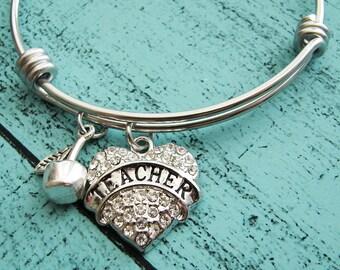 teacher gift bracelet, teacher appreciation gift, thank you teacher gift for teacher, personalized teacher gift teacher jewelry, end of year