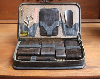 Antique Merita Black Cowhide Traveling Kit