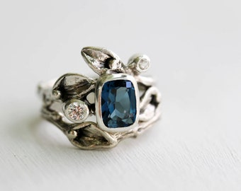 White Sapphire, London Blue Topaz Engagement Rings, Leaf Ring, Silver Twig Rings