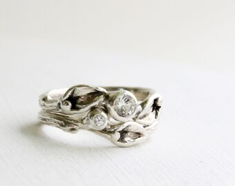 Leaf Ring,White Sapphire Engagement Ring Set, Leaf Ring, Silver Branch Ring,Twig Ring, Leaf Engagement Ring