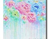 ORIGINAL Art Abstract Painting LARGE Art Home Decor Wall Art Acrylic Blue Pink White Flowers Painting Peony Palette Knife Christine Krainock