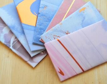 SALE-Purple and Blue Gift Card Envelope // Set of 10 // Gift Card Holder // Mini Cards // Business Card Envelope // Pocket Envelope