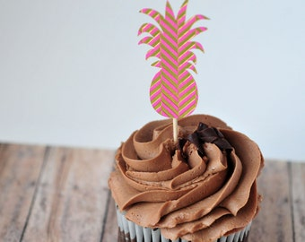 SALE-Pink and Gold Pineapple Cupcake Toppers // Party Decoration // Tropical // Birthday Party // Cake Topper