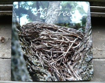Bird's Nest with text Print Wood Block Print 5x5-  Stock on hand - Custom Print or Made to order -  Professionally Printed