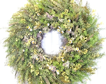 Fragrant Dried Floral Wreath,  Fall Wreaths, Sweet Annie,  Wall Decor,  Natural Wreath, Nature Decor