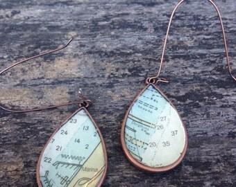 Vintage New York Nautical Chart Map Copper Dangle Drop Earrings
