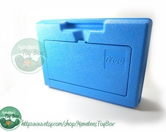 Vintage 80s LEGO Case: Blue - Great for Lego storage or a funky lunch tote JD