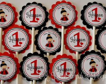 Queen of Hearts Birthday Cupcake Toppers