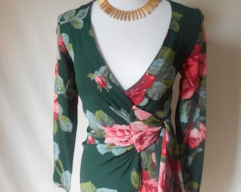 BETSEY JOHNSON vintage 90s green floral wrap blouse top