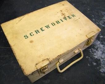 Vintage Industrial Factory Machinist Metal Tool Storage Box