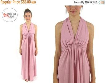 On Sale - Vintage 70s Maxi Empire Waist Dress Dusty Pink Boho Maxi Dress md
