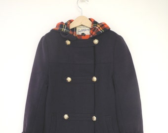 Vintage Girl's Clothes, 1950's Saks Fifth Avenue Navy Blue Peacoat, Vintage Girls Coat, Winter Girls Coat, Girls Navy Peacoat, Size 10