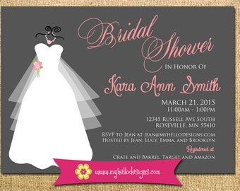 Printable Bridal Invitation Any Color Combination - wedding dress Silhouette Shower Invite DIY - party girly girlie tea elegant formal fun
