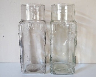 2 French Antique Glass Jar - French Kitchen Antique jar