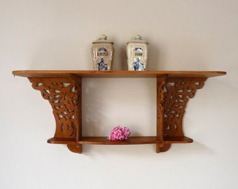 Art Nouveau Antique Hand Carved Wood Shelf - Wooden Shelf - French Antique Shelf - Handicraft