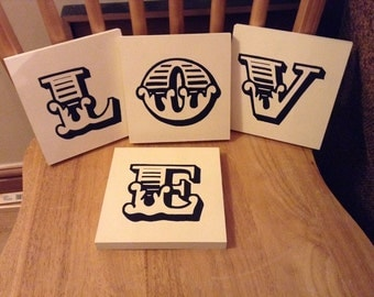 personalised letter blocks, wooden letters, monograms, carnival letters, 15cm square - LOVE - Set of 4