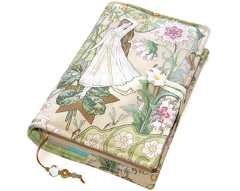 Book Cover Small to Medium, Bible Cover, UK Seller, Hardback or Paperback, Art Nouveau Daisy Maiden