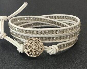 Wrap Bracelet White Leather Bracelet Boho Chic Wedding Jewelry
