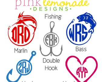 Fishing Monogram Decal, Fisherman Monogram Vinyl Decal, Bass Vinyl Decal, Marlin Vinyl Monogram, Fishing hook Decal