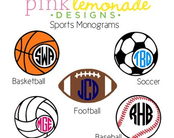 Soccer Monogram Vinyl Decal, Volleyball Monogram Decal, Baseball Monogram Decal, Basketball Monogram Decal, Football Monogram Decal
