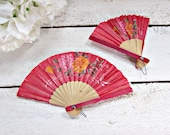 Vintage Folding Hand Fans, Japanese Chinese Asian Fans, Small Paper Wood Fans, Red Rose Flower Hand Fans, 1970s Asian Home Decor Wall Art