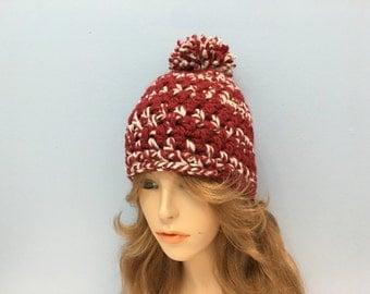 Crochet Thick Wool Beanie with Pom Pom - HOYAS