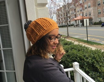 Crochet Wool Slouchy Hat with Pom Pom - GOLD