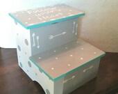 Arrow and Polka Dot Step Stool-Turquoise or Aqua, White and Grey Stool-Personalize-Stepstool-Bathroom Stool-Bedroom Stool-Steps-Storage