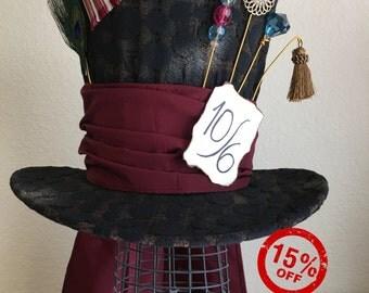 Tim Burton's Mad Hatter Top Hat, tea party, wedding, Christmas gift, Valentine gift
