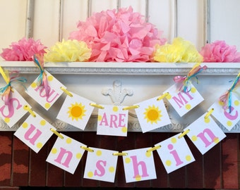 You Are My Sunshine Birthday Decorations, child's room decor - sunshine banner - You are my Sunshine Baby shower decorations CUSTOM COLORS