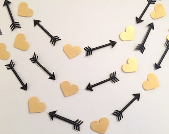 Bride Tribe Decorations - Arrow Head garland - Arrow banner - Hearts and Arrows Banner - Birthday Decorations - your color choices