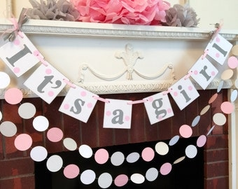 Pink and Gray Baby Shower Decorations - Its a Girl Banner - Birth Announcement - Nursery Decor - Your Color Choice