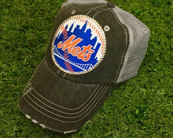 New York Mets NYC Baseball Bling Swarovski Ladies Womens Trucker Hat