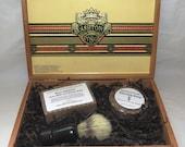 Sandalwood Vanilla Cigar Box Deluxe Shave/Shaving Set Kit - Ashton VSG Robusto Puck