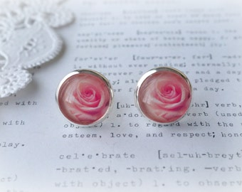 Round Glass Pink Rose Stud Earrings