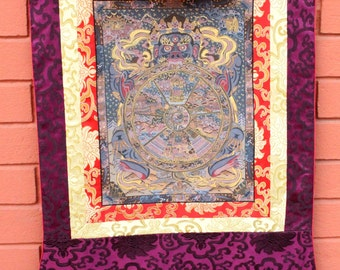 13.TH31 Wheel Of Life Thangka Painted with a Silk Brocade Frame