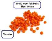 Felt beads handmade orange felt balls pom pom balls arts and crafts 10mm 100%