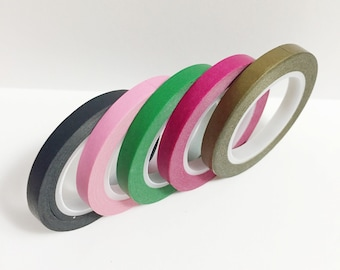 Washi Tape Set of 5 Skinny Solid Color Washi Tape 11 yards 10 meters 5mm Each Gold Hot Pink Kelly Green Light Pink Black