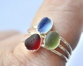 Size 8 Stack able Sterling Silver Seaglass Rings Red,or Blue or Green