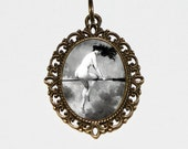 Witch Necklace, Wiccan, Victorian, Halloween Jewelry, Naked, Nude Witch, Oval Pendant