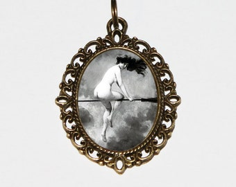 Witch Necklace, Halloween Jewelry, Wiccan, Victorian, Naked, Nude Witch, Witchcraft, Bronze Oval Pendant