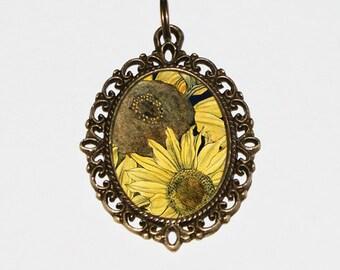 Sunflower Necklace, Yellow Sun Flower, Sunflowers, Oval Pendant, Flowers