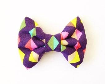 The Colorful Diamonds Handmade Bow (Handmade Bow / Bow Tie / or Headband)