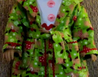 Green Red and White Moose Print Pajama, Robe, Slippers Set Fits American Girl Dolls or Similar 18 Inch Doll