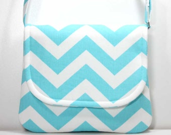 Small Crossbody Bag Small Shoulder Purse Sling Bag Hobo Bag Cross Body Bag - Aqua Blue and White Chevron - Made to Order