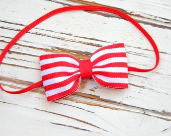 Red Bow Headband, Red and White Bow Headband, Baby Christmas Headband, Baby Bow Headband