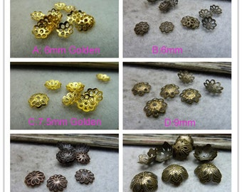 100pcs 6-7.5-9-13mm Bead Caps  flower hat  Flower End Cap Charms pendants Necklace Bead Caps,Cones  fittings