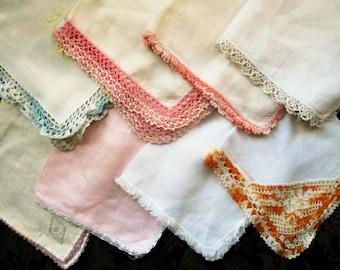 Vintage Handkerchiefs, Embroidered, Lace Trim, Wedding