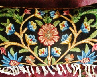Hand Embroidered Pillow, Crewel Flowers, Mint Condition